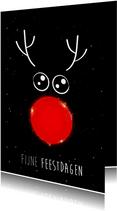 Kerstkaart met rendier met rode neus