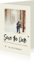 Kerstkaart met save the date uitnodiging en foto