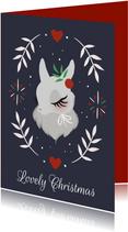 Kerstkaart met sneeuwkonijntje
