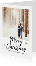 Kerstkaart met speelse teksten en een eigen foto