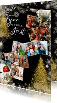 Kerstkaart met sterren en collage van 12 foto's