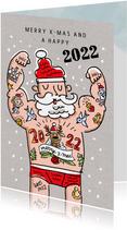 Kerstkaart met tattoo kerstman
