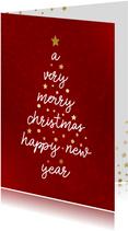 Kerstkaart met typografische kerstboom