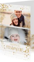 Kerstkaart met veel goudaccenten en 2 foto's