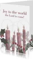 Kerstkaart met vier kaarsen en christelijke tekst