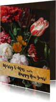Kerstkaart met vintage bloemenbos en gouden band