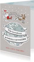 Kerstkaart met vliegende kerstman en rendier