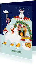 Kerstkaart met vrolijke ijsberen in Kerstiglo