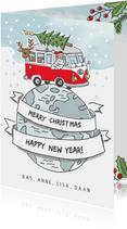 Kerstkaart met vw busje rijdend over de wereldbol
