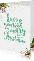 Kerstkaart met waterverf tekst ' a merry little christmas'