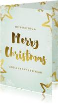 Kerstkaart mintgroen goud kader 'Merry Christmas'