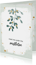 Kerstkaart mistletoe aanpasbare tekst
