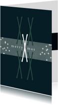 Kerstkaart modern, merry Xmas. X als patroon en sterretjes