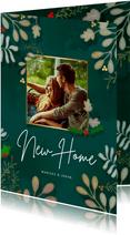 Kerstkaart New Home Botanisch - een gouden kerst