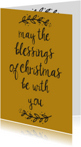 "Kerstkaart oker ""Blessings"" - WW"