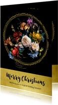 Kerstkaart oude meesters boeket goud