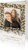 Kerstkaart panterprint, gouden spetters en Merry Christmas