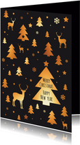Kerstkaart patroon kerstboom, rendier, ster