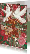 Kerstkaart Peace on Earth illustratie