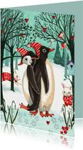 Kerstkaart Penguins in het bos