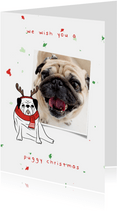 Kerstkaart puggy christmas humor met confetti