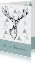 Kerstkaart rendier grafisch stijlvol