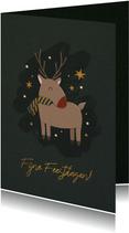 Kerstkaart rendier met sterren en fijne feestdagen
