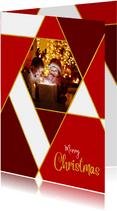 Kerstkaart rode ruiten goud en eigen foto