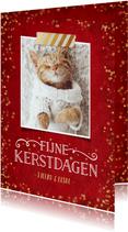 Kerstkaart rood met gouden confetti en eigen foto