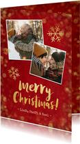 Kerstkaart rood met gouden confetti en foto's