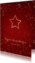 Kerstkaart rood met kerstster van goud - Een gouden kerst