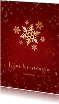 Kerstkaart rood met sneeuwvlok van goud - een gouden kerst