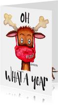Kerstkaart Rudolf oh deer what a year