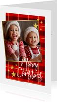 Kerstkaart ruitpatroon met goud 'Merry Christmas' en foto
