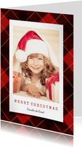 Kerstkaart ruitpatroon nostalgisch met foto en tekst