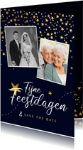 Kerstkaart save the date jubileum sterren goud confetti foto