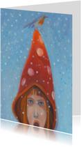 Kerstkaart schilderij roodborst