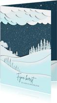 Kerstkaart silhouet landschap blauw-wit
