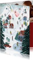 Kerstkaart ski landschap illustratie