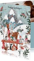 Kerstkaart sneeuw landschap met bos dieren
