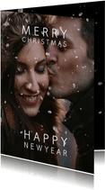 Kerstkaart sneeuweffect over de foto