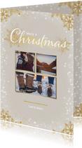 Kerstkaart staand met 3 foto's en gouden ijssterren