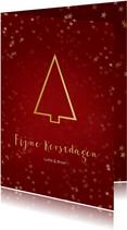 Kerstkaart staand rood gouden kerstboom - Een gouden kerst