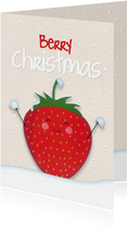 Kerstkaart staand strawberry Berry Christmas