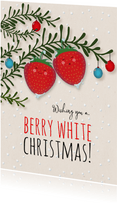 Kerstkaart staand strawberry Berry White Christmas