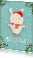 Kerstkaart staand wit konijntje