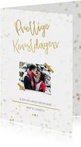Kerstkaart staand wit met foto en goud - Een gouden kerst