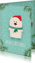 Kerstkaart staand witte ijsbeer