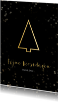 Kerstkaart staand zwart gouden kerstboom - Een gouden kerst