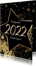 Kerstkaart ster 2022 goud